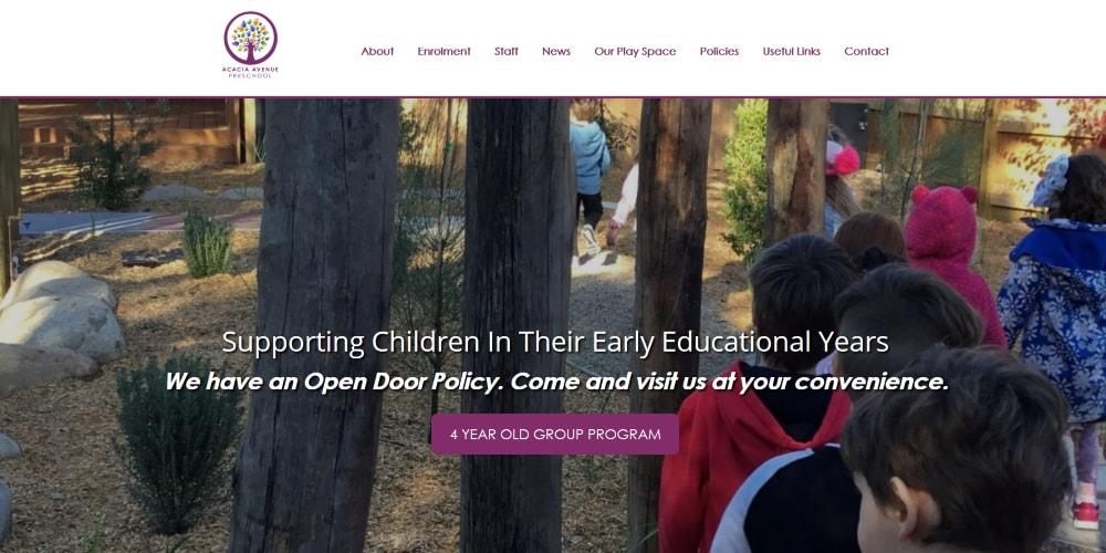 Website Design Portfolio | Acacia Avenue Preschool
