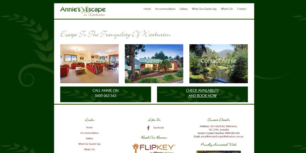 Website Design Portfolio | Annie's Escape Warburton | Cottage
