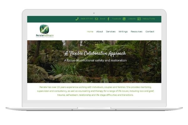 Renate had been wanting a website for a while. She was after a look and feel that would be a true representation of her business and the work she does. I loved using her logo as a starting point, building the website around the soft greens and creating a warm and welcoming online presence.