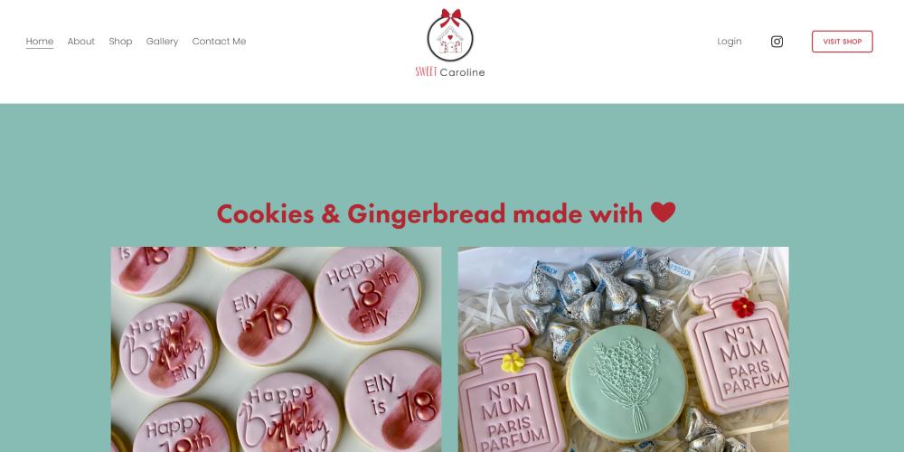 Website Design Portfolio | Sweet Caroline | Custom made coookies