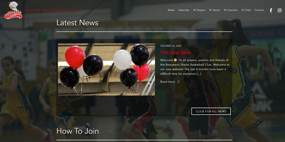 Website Design Portfolio   Beaumaris Sharks Basketball Club